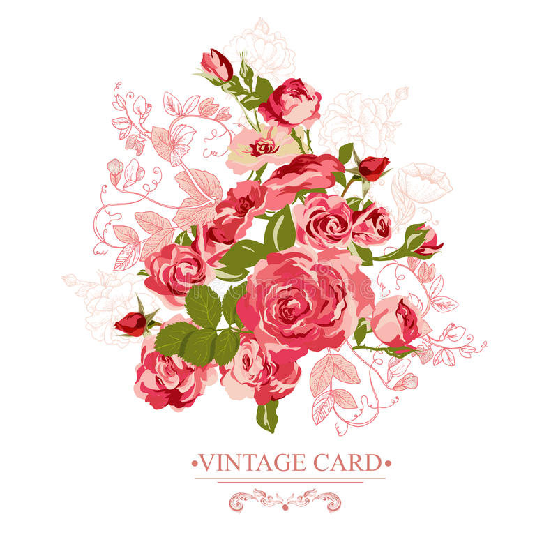 Vintage Floral Card with Roses. Vector Design Element. Roses background, invitation royalty free illustration