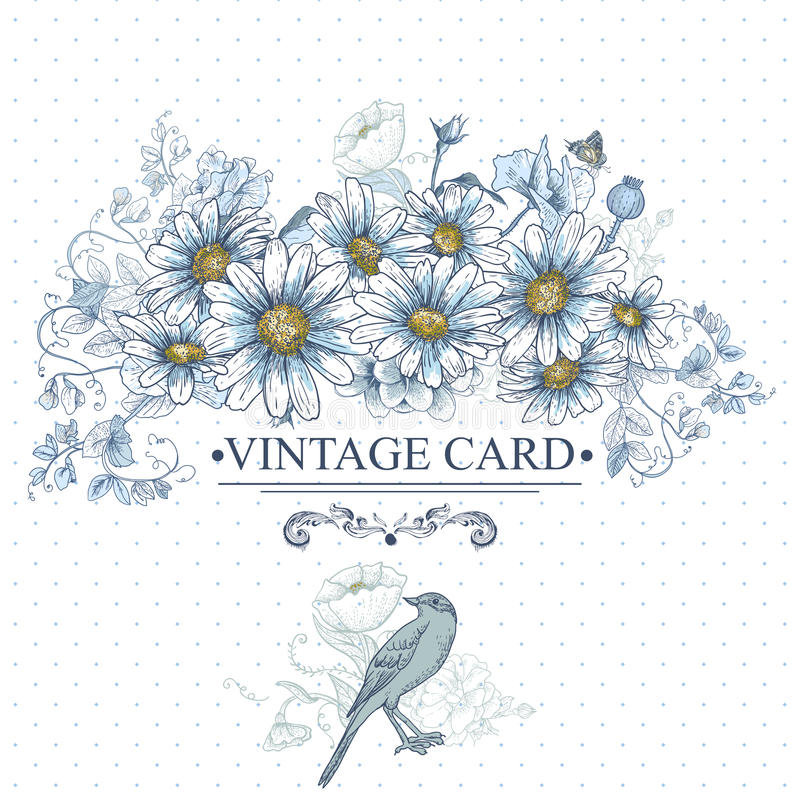 Free Vintage Floral Card With Birds And Daisies Royalty Free Stock Images - 39103349