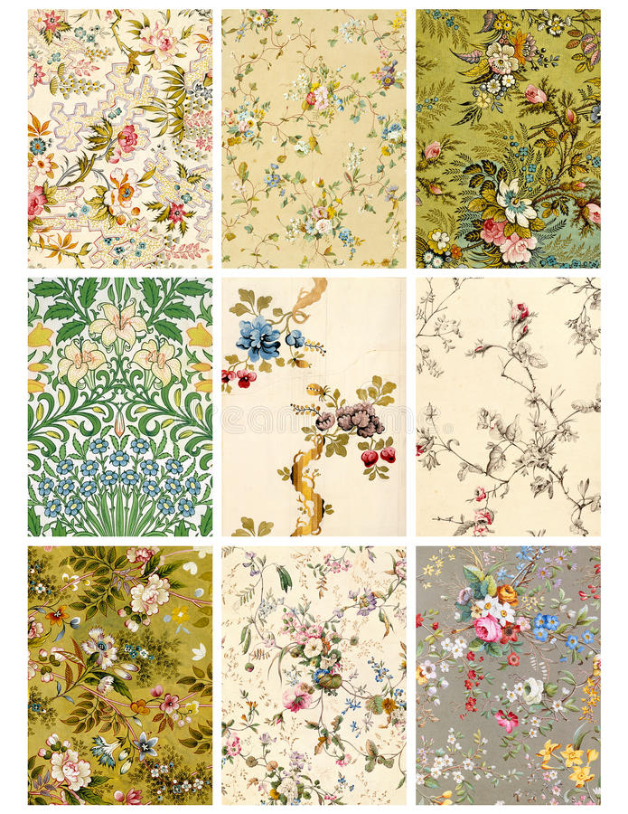 Free Vintage Floral Collage Sheet Or Tags Royalty Free Stock Photos - 14003548