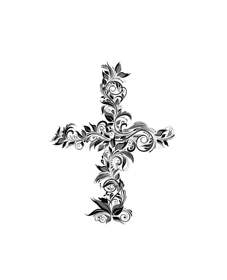 Vintage floral cross black and white stock illustration