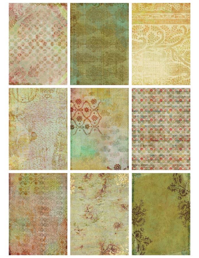 Vintage Floral Damask Collage Sheet. Set of nine vintage floral damask shabby designs, each sized at 2.5x3.5 inches royalty free illustration