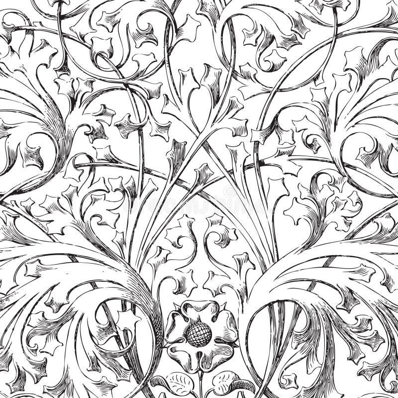 Vintage floral damask scrapbook background. Illustration stock illustration