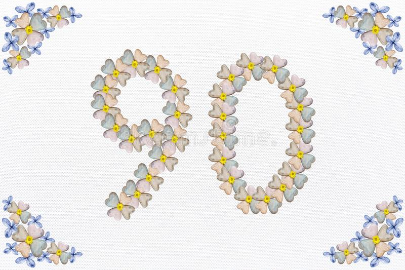 Vintage floral design with blossom and hearts, birthday 90 stock photos