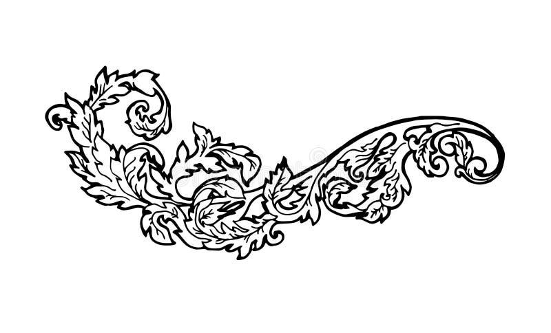 Vintage floral design element. Decorative element at engraving style. royalty free illustration