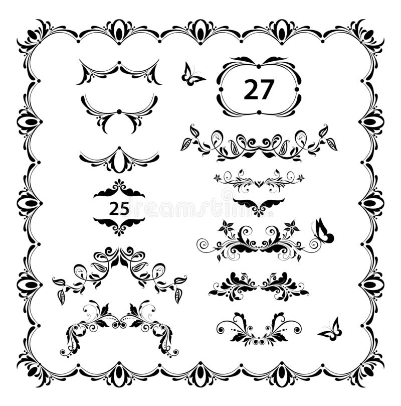 Vintage floral dividers, page ruler and headers vector set. Black and white retro design vector illustration