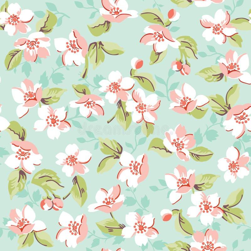 Vintage floral e Cherry Background ilustração royalty free