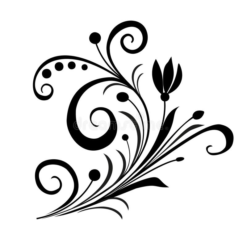 Vintage floral element in retro antique style foliage swirl decorative design element filigree calligraphy. Black Vintage floral element in retro antique style royalty free illustration