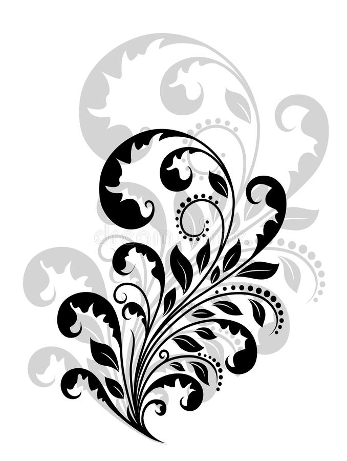 Vintage floral embellishment. And element for retro design royalty free illustration