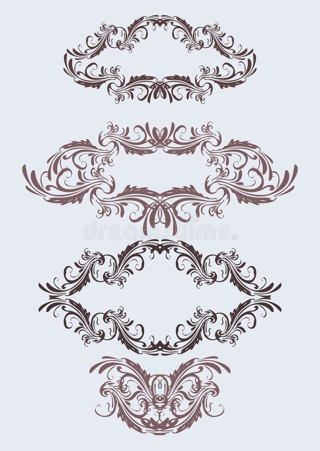 Vintage floral frames stock illustration