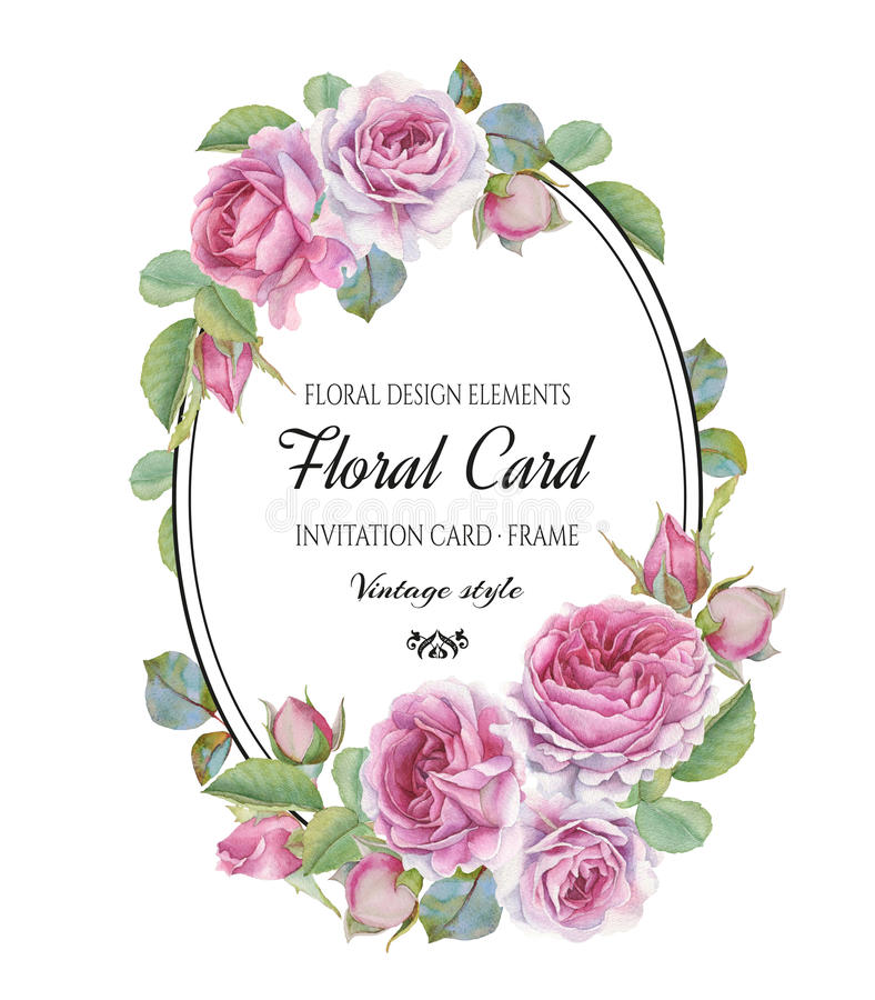 Vintage floral greeting card with watercolor roses stock illustration