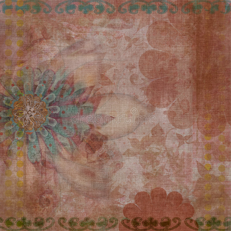 Vintage Floral Grunge Bohemian Tapestry Scrapbook Background royalty free stock photo