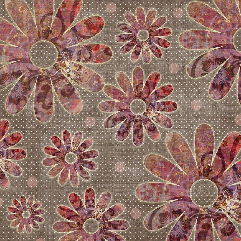 Vintage Floral Grunge Bohemian Tapestry Scrapbook Background vector illustration