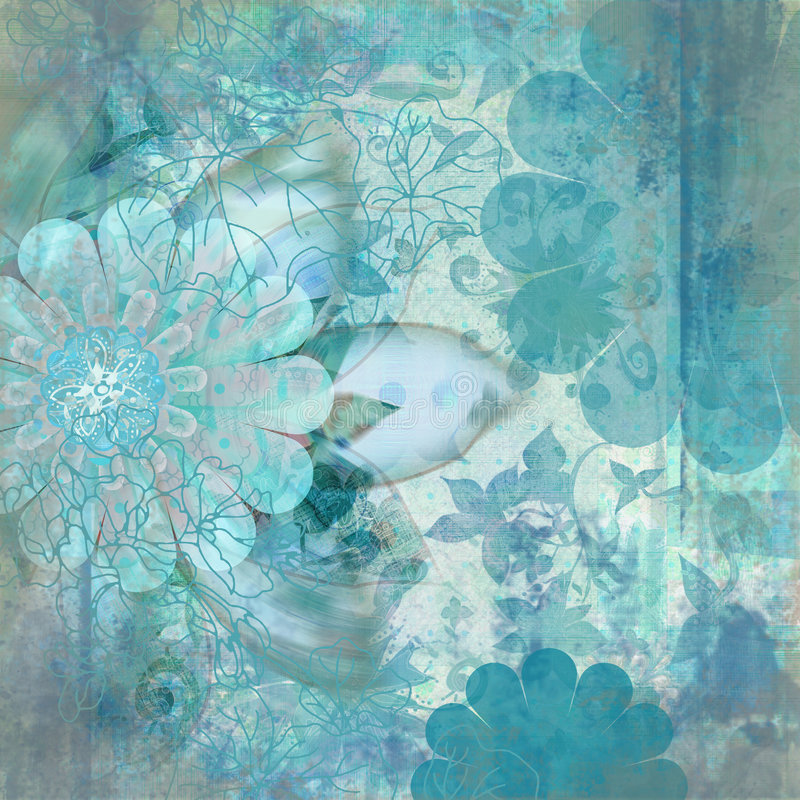 Vintage Floral Grunge Bohemian Tapestry Scrapbook Background royalty free illustration