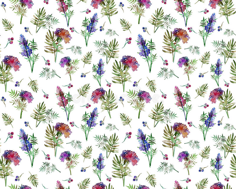 Vintage floral herbs seamless pattern with forest flowers and leaf. Print for textile wallpaper endless. Hand-drawn. Vintage floral seamless pattern with forest royalty free illustration