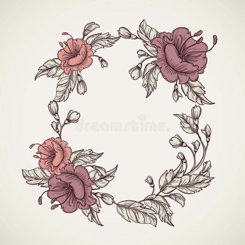 Vintage floral highly detailed hand drawn bouquet of flowers located in elliptical form frame.Retro banner, invitation, wedding ca royalty free illustration