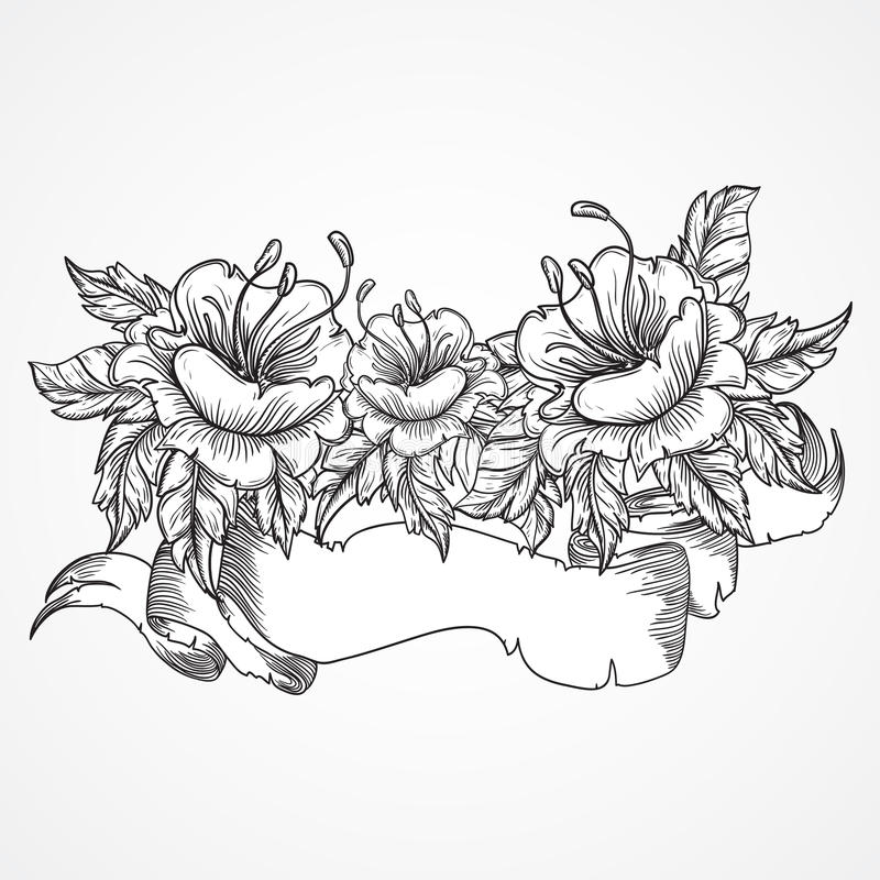 Vintage floral highly detailed hand drawn bouquet of flowers and ribbon banner in black and white. Victorian Motif, tattoo design vector illustration