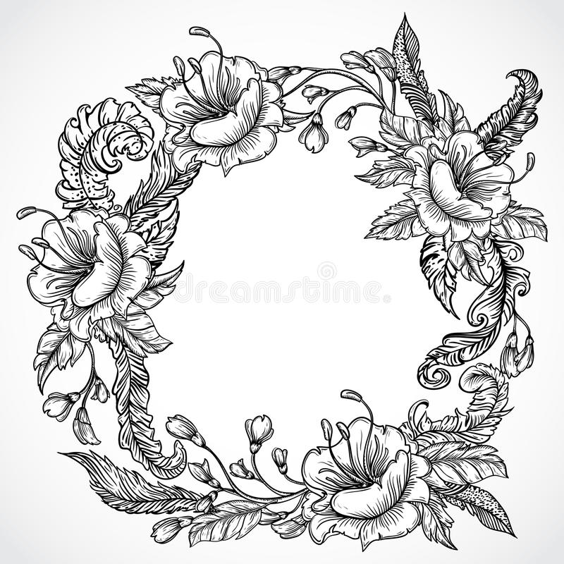 Vintage floral highly detailed hand drawn wreath of flowers and feathers.Retro banner, invitation, wedding card, scrap booking. stock illustration