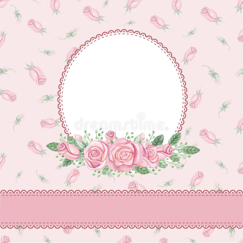Vintage floral invitation,card.Watercolor rose royalty free illustration
