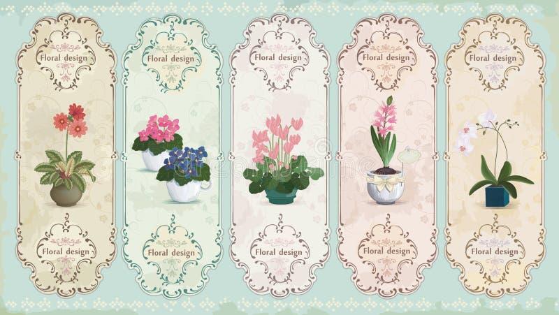 Vintage floral labels. Set of vintage labels with potted flowers. Vector illustration