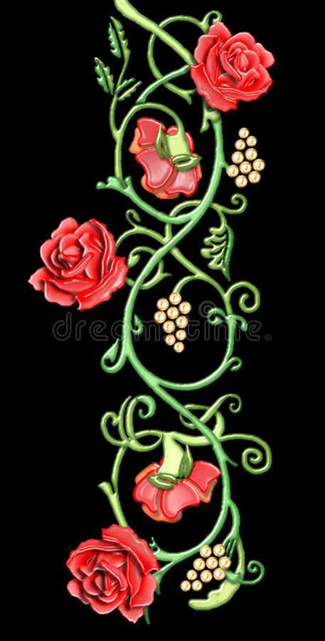 vintage floral motif of red roses royalty free stock photo