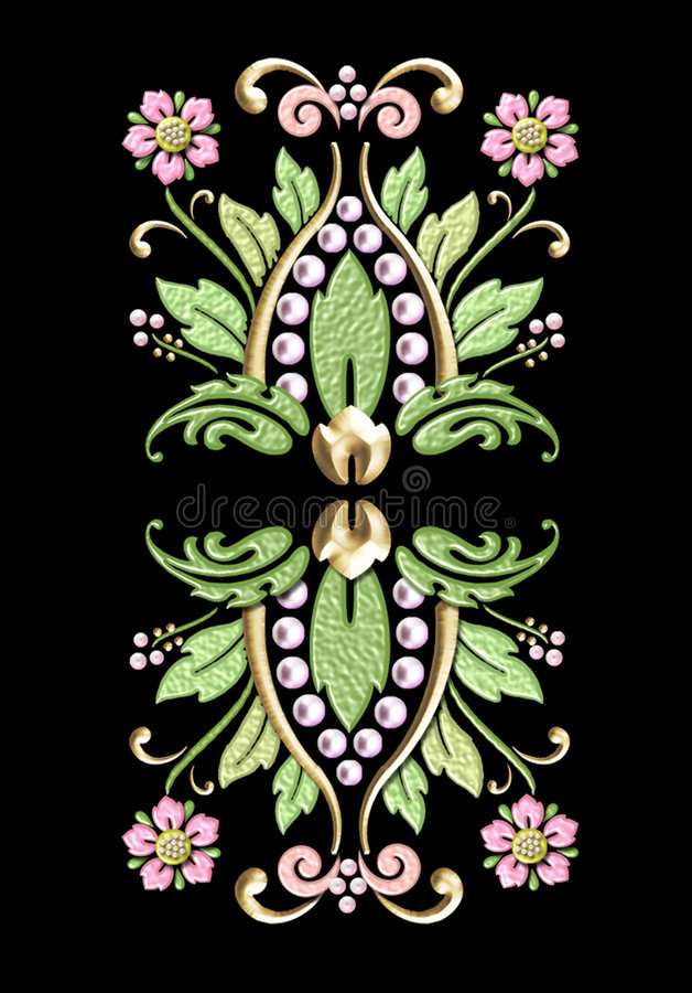 vintage floral motif w/pearl accents royalty free stock images