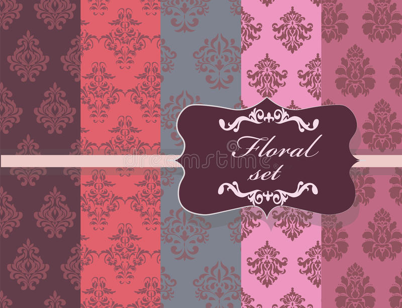 Vintage Floral Ornament Damask Patterns Collection Stock Vector
