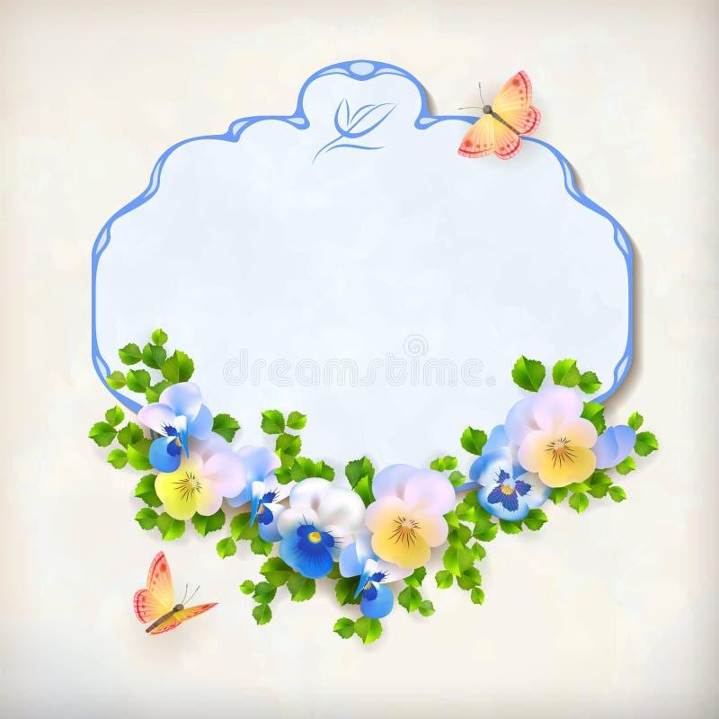 Vintage floral Pansy Flower Card del vector libre illustration