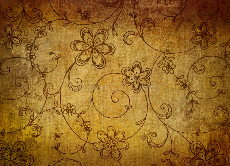 Vintage floral paper with grunge effect stock images