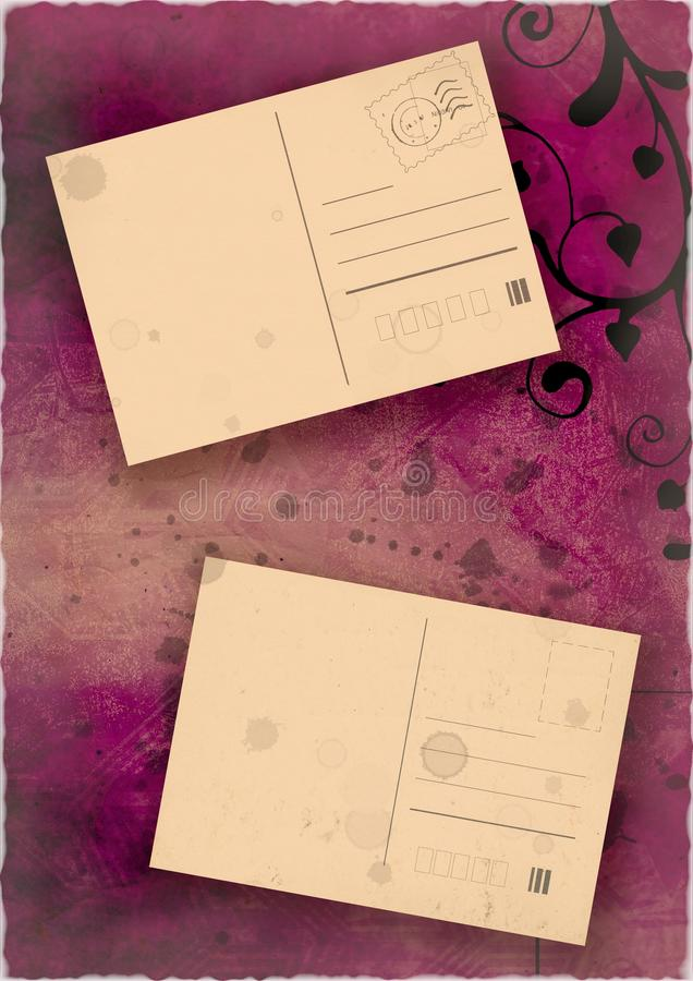 Vintage floral post cards. Old grunge post cards on abstract map background royalty free illustration
