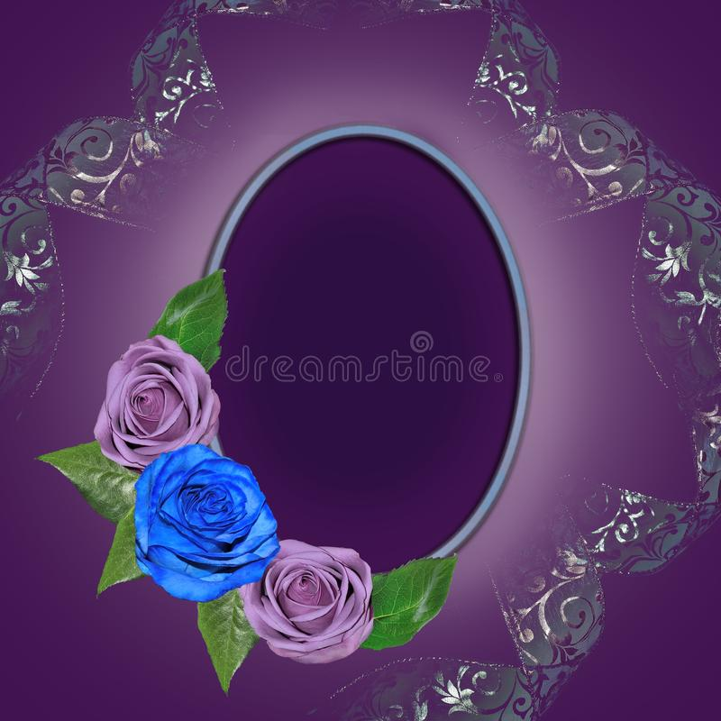 Vintage floral round frame with roses and curled ribbon decorate royalty free illustration