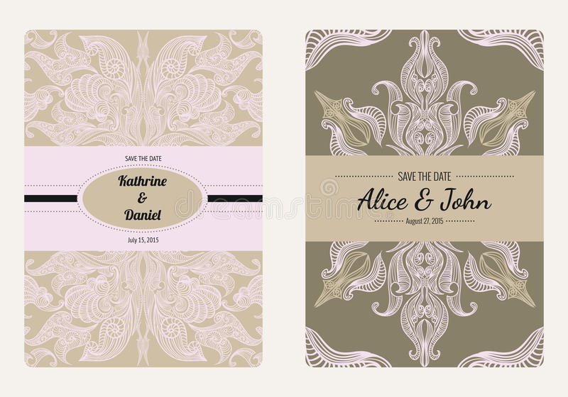 Vintage floral save the date or wedding invitation card collection. Retro vector romantic card template. stock illustration