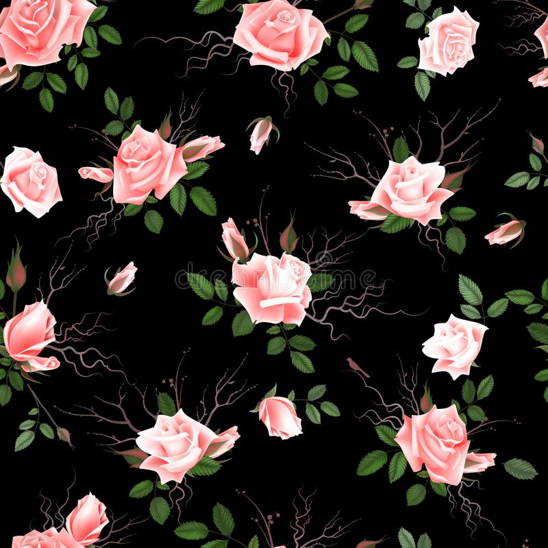 Vintage Floral Seamless Background with Blooming pink Roses, Vector Illustration stock illustration