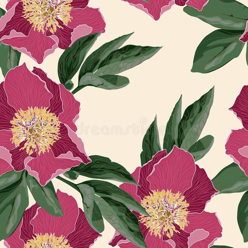 Vintage floral seamless background light yellow with blooming peony. royalty free illustration