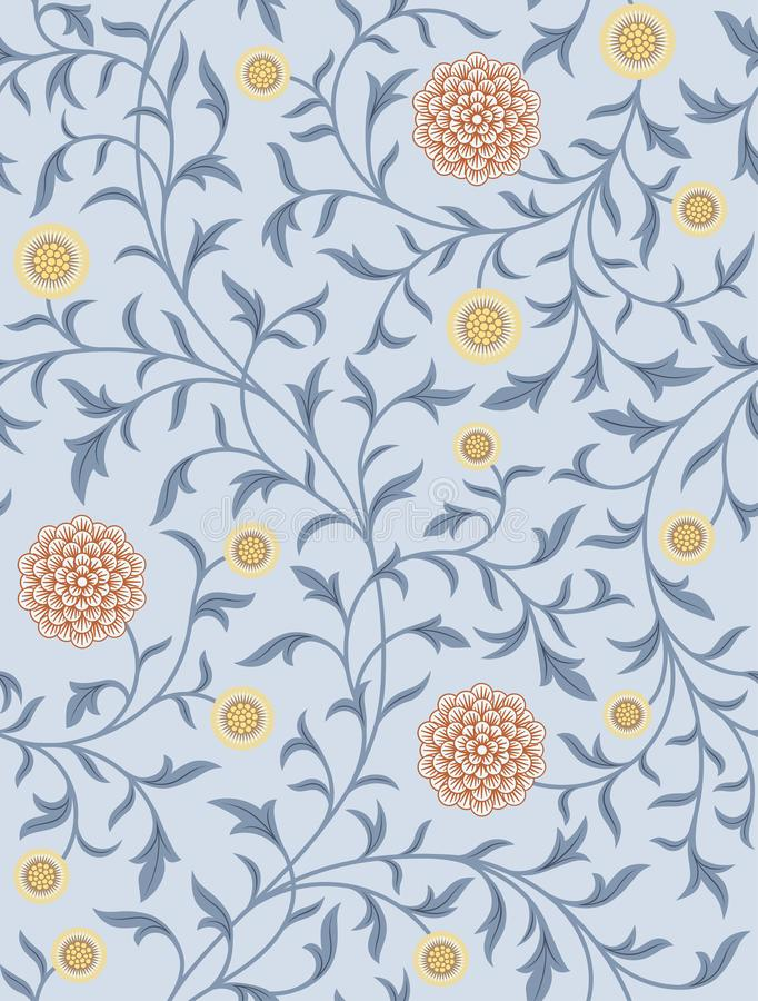 Free Vintage Floral Seamless Pattern On Light Background. Vector Illustration. Royalty Free Stock Images - 141071669