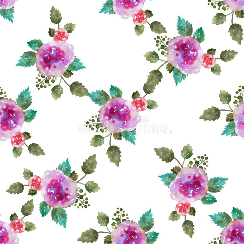 Vintage floral seamless pattern with pink rose flowers and leaf. Print for textile wallpaper endless. Hand-drawn vector illustration