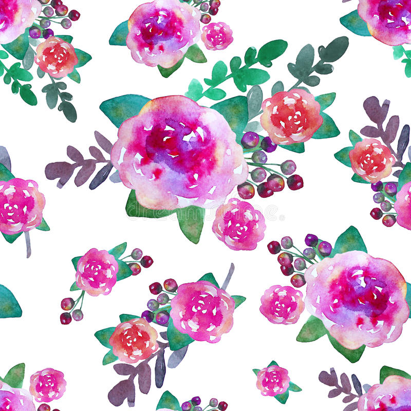 Vintage floral seamless pattern with rose flowers and leaf. Print for textile wallpaper endless. Hand-drawn watercolor royalty free illustration