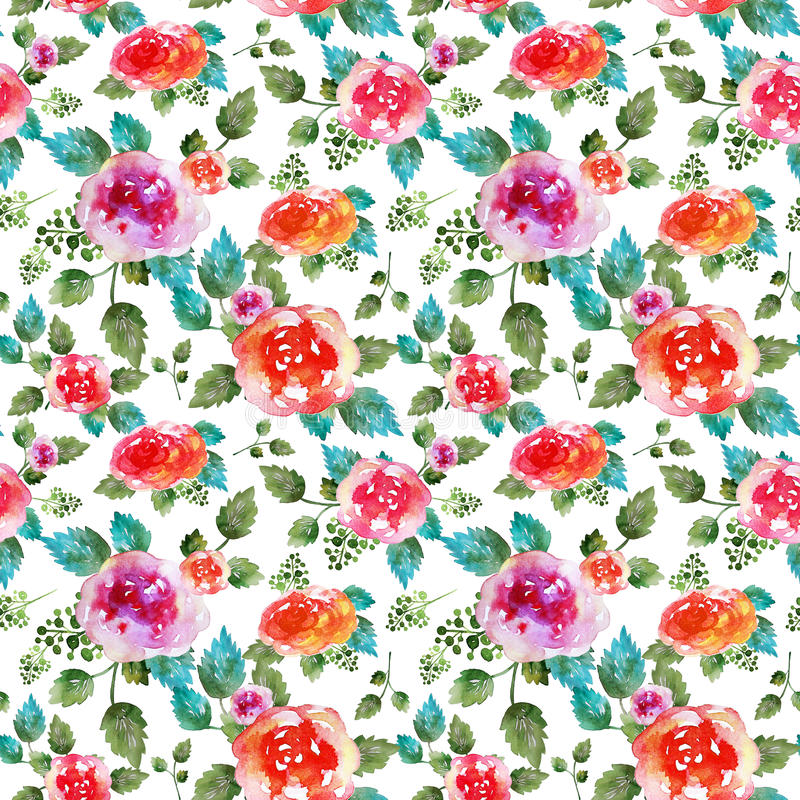 Vintage floral seamless pattern with rose flowers and leaf. Print for textile wallpaper endless. Hand-drawn watercolor. Elements. Beauty bouquets. Pink, red stock photography