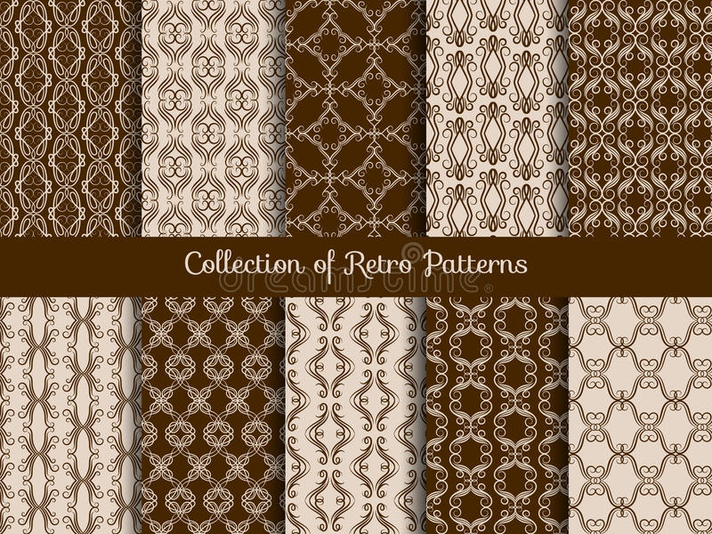 Vintage floral seamless pattern set. Retro asian tile samples on sepia background stock illustration