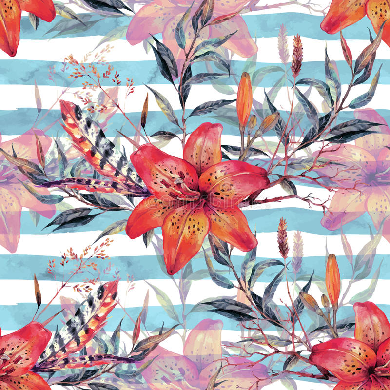 Vintage floral seamless watercolor pattern stock illustration