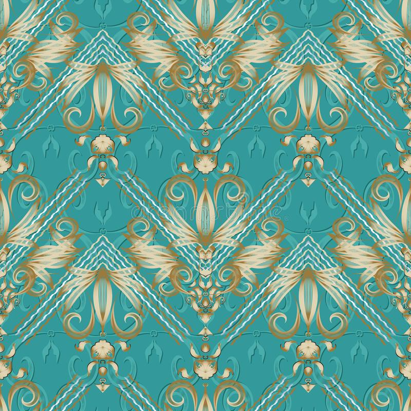 Vintage floral striped seamless pattern. Turquoise vector background. Hand drawn gold damask flowers, swirl leaves, lines, curves stock illustration