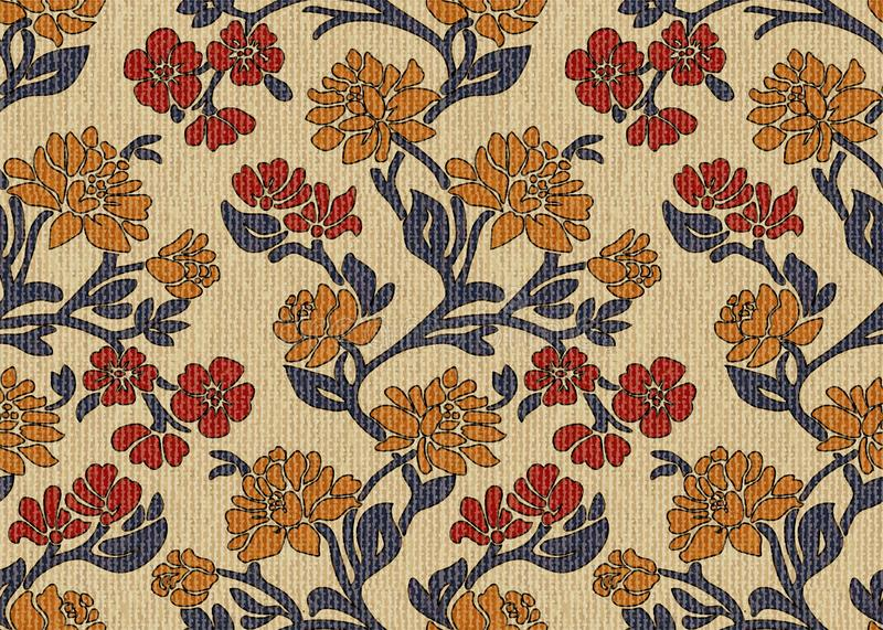 Vintage floral upholstery fabric seamless pattern cream background royalty free stock images