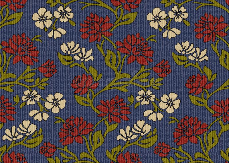 Vintage floral upholstery fabric seamless pattern royalty free stock photography