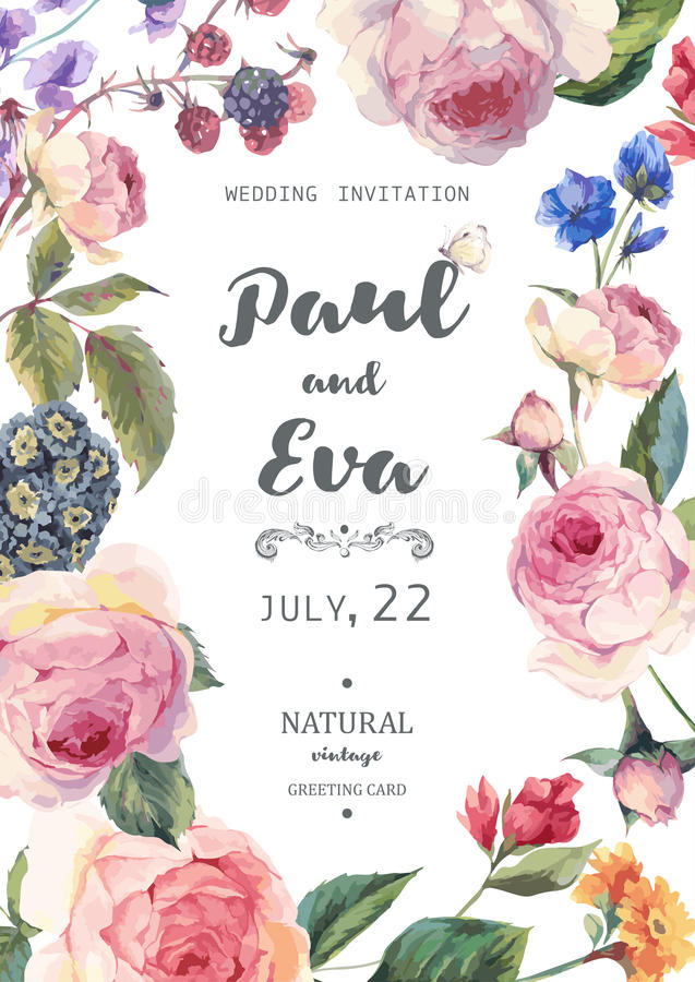 Vintage Floral Vector Roses Wedding Invitation Stock Vector ...