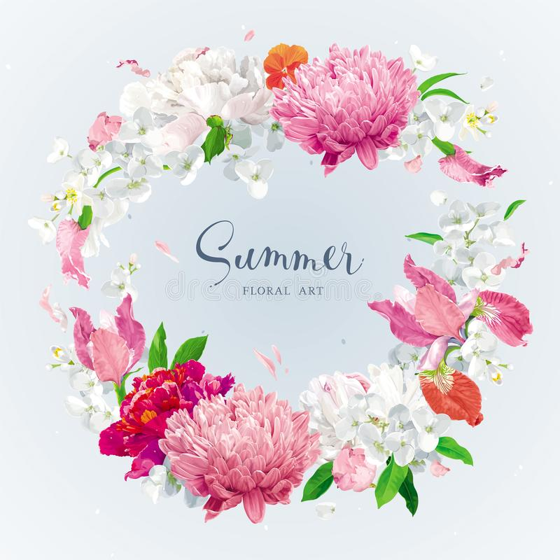Red, pink and white spring and summer flowers vector wreath. Vintage floral vector wreath with Chrysanthemums, Irises, Hydrangeas, Peonies, Apple blossom, garden stock illustration