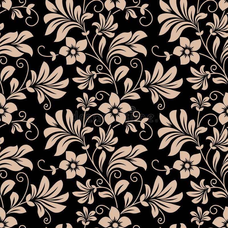 Black Flower And Vines Pattern Royalty Free Stock Image: Vintage Floral Wallpaper Seamless Pattern Stock Vector