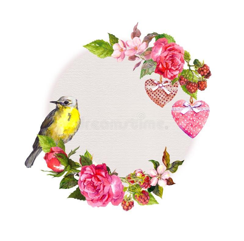 Vintage floral wreath for wedding card, Valentine design. Flowers, roses, berries, vintage hearts, bird. Watercolor stock illustration
