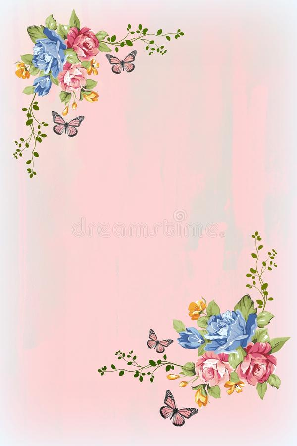 Free Vintage Florals, Butterflies And Pastel Background Royalty Free Stock Photography - 34475977