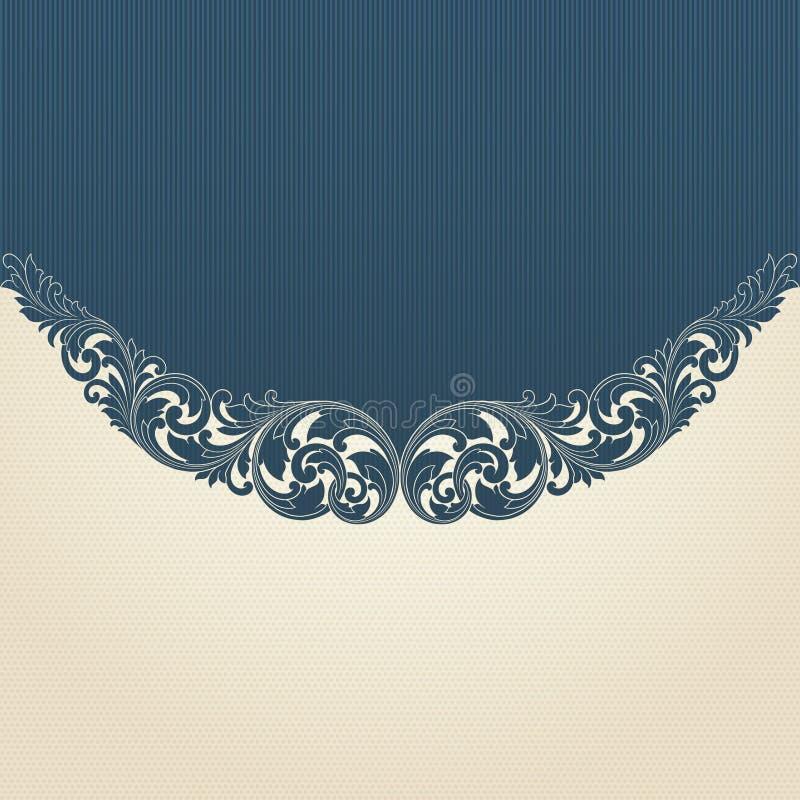 Vintage flourish engraving pattern border frame stock illustration