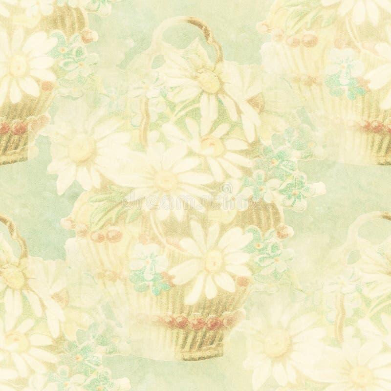 Vintage flower basket paper stock illustration
