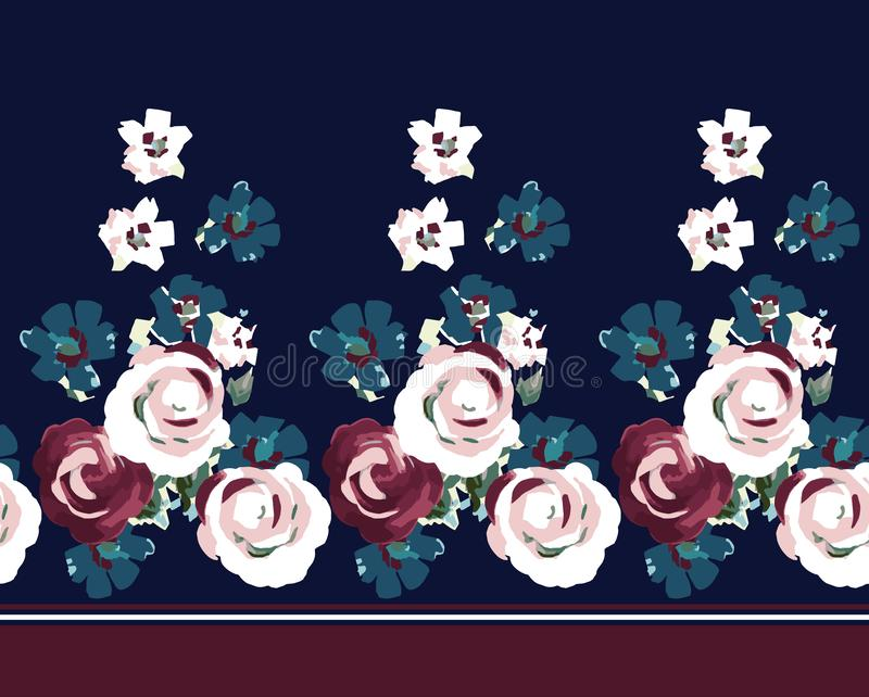 Vintage flower border on navy. Red flower and blue flower stock illustration